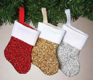 Metallic Mini Christmas Stockings in Gold, Silver, Red