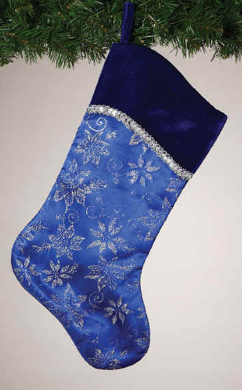 Blue & Silver Poinsettia x-mas stockings