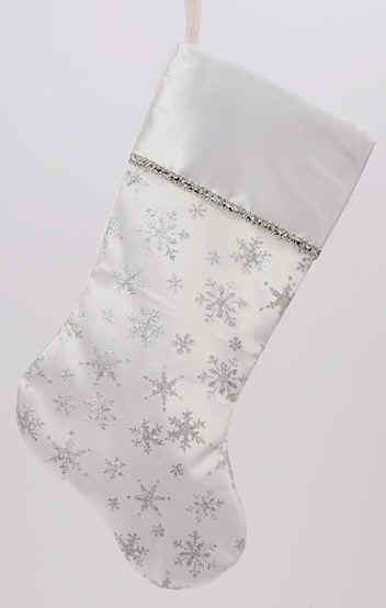 white and silver chrismas stocking