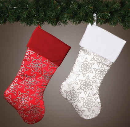 Red, White, Silver Christmas Stockings