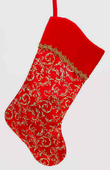 Red and Gold Christmas sock