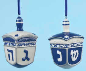 Dreidel Porcelain Ornaments