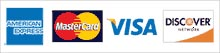 We accept American Express, MasterCard, Visa and Discover