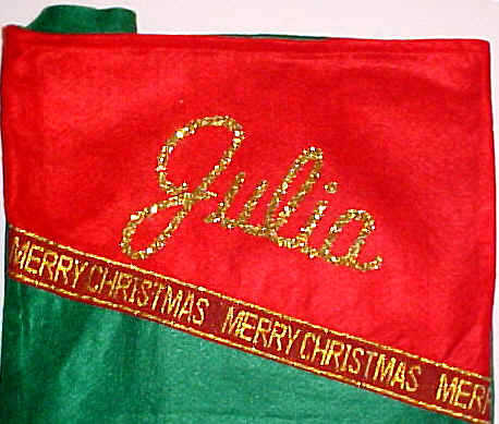 Gold Glitter Personalizing Christmas Stockings